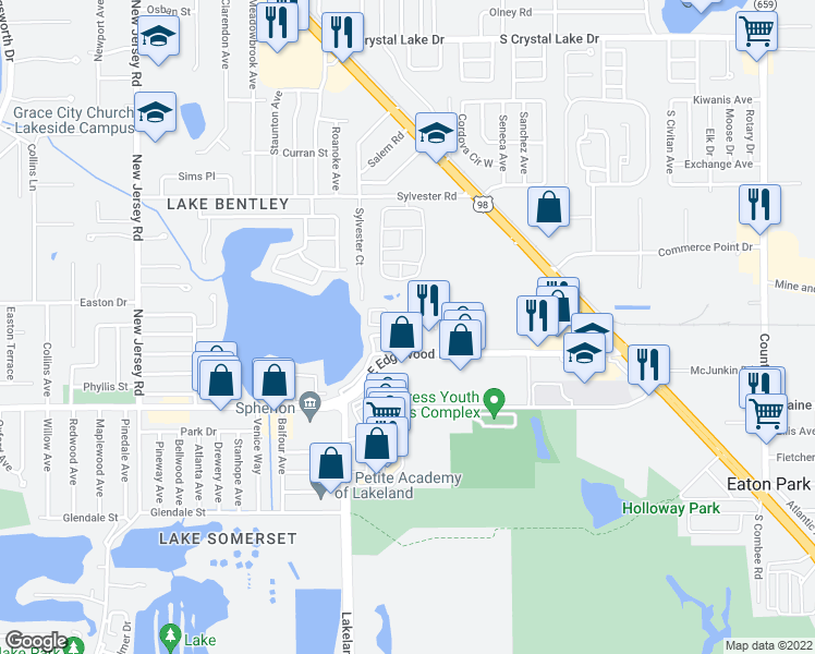 map of restaurants, bars, coffee shops, grocery stores, and more near 2050 East Edgewood Drive in Lakeland