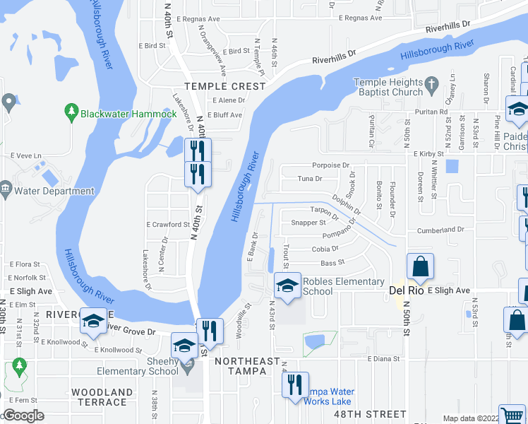 map of restaurants, bars, coffee shops, grocery stores, and more near 4108 Waterside Island Ct in Tampa