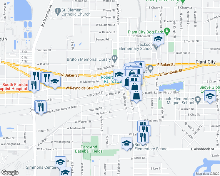 map of restaurants, bars, coffee shops, grocery stores, and more near 103 North Walker Street in Plant City