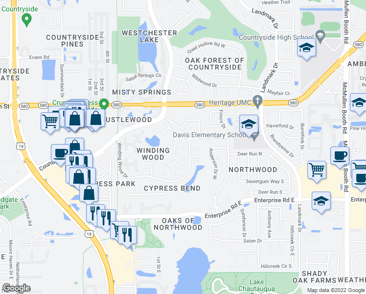 map of restaurants, bars, coffee shops, grocery stores, and more near 2757 Haverhill Court in Clearwater
