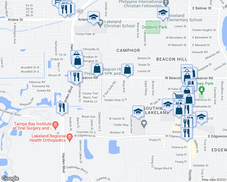 map of restaurants, bars, coffee shops, grocery stores, and more near 2229 Brandy Place in Lakeland