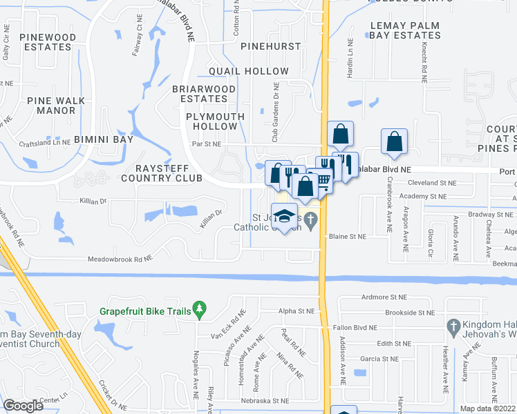 map of restaurants, bars, coffee shops, grocery stores, and more near 608 Cedar Side Circle Northeast in Palm Bay