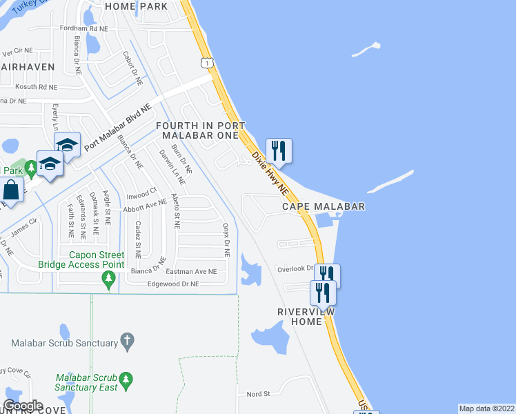 map of restaurants, bars, coffee shops, grocery stores, and more near 3369-3385 Wedgewood Road Northeast in Palm Bay