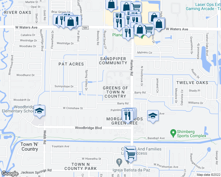 map of restaurants, bars, coffee shops, grocery stores, and more near 7609 La Mesita Court in Tampa