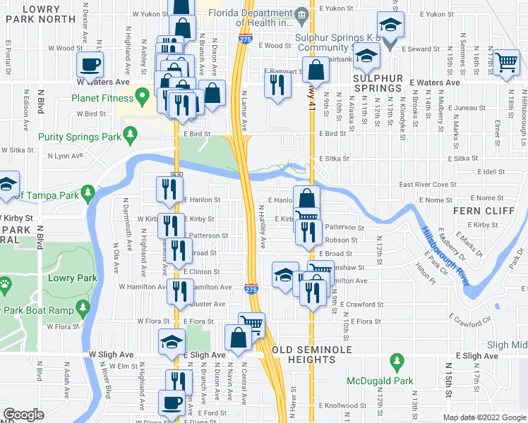 map of restaurants, bars, coffee shops, grocery stores, and more near 7707 North Huntley Avenue in Tampa