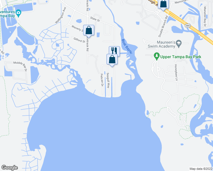 map of restaurants, bars, coffee shops, grocery stores, and more near 7416 Seagull Way in Tampa