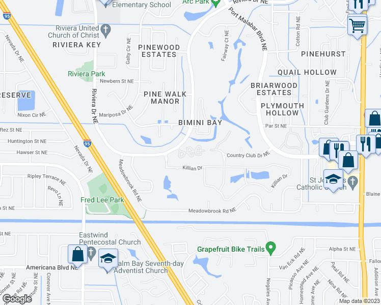 Palm Bay Florida Map.1716 Malabar Lakes Drive Northeast Palm Bay Fl Walk Score