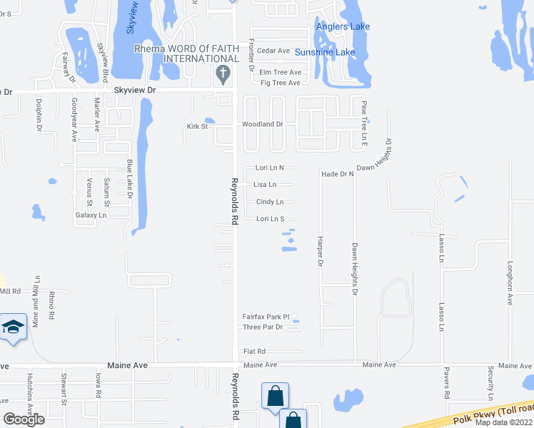 map of restaurants, bars, coffee shops, grocery stores, and more near 3430 Lori Lane South in Lakeland