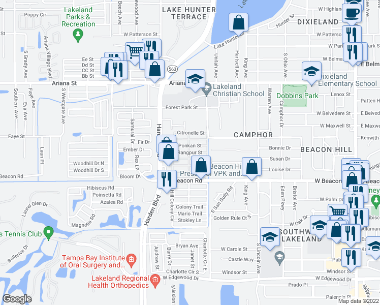 map of restaurants, bars, coffee shops, grocery stores, and more near Rangpur Street in Lakeland