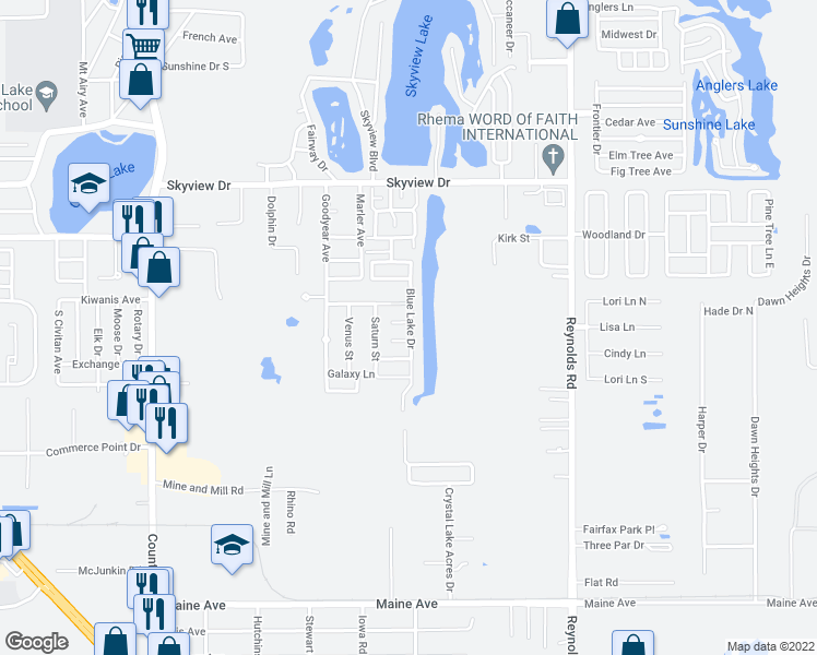 map of restaurants, bars, coffee shops, grocery stores, and more near 1726 Blue Lake Drive in Lakeland