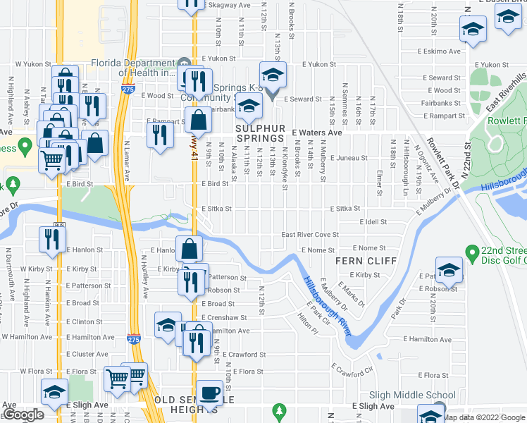 map of restaurants, bars, coffee shops, grocery stores, and more near 8017 North 12th Street in Tampa