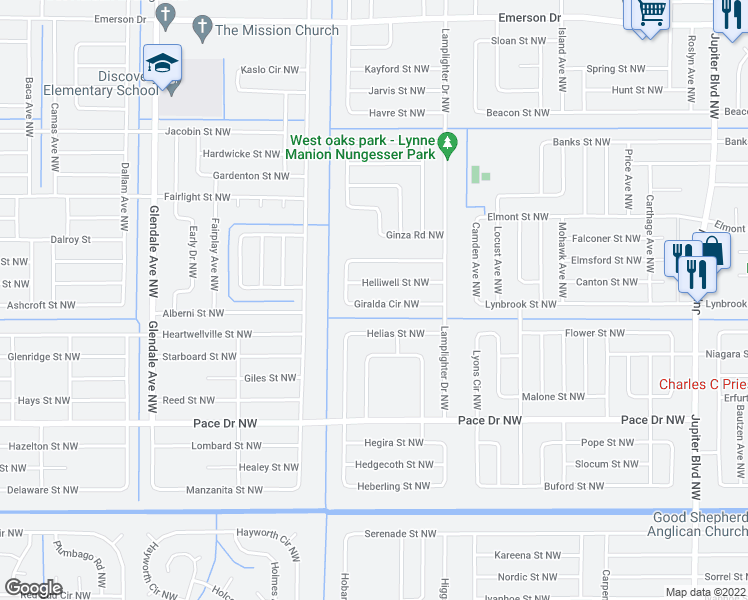 map of restaurants, bars, coffee shops, grocery stores, and more near 1259 Giralda Circle Northwest in Palm Bay
