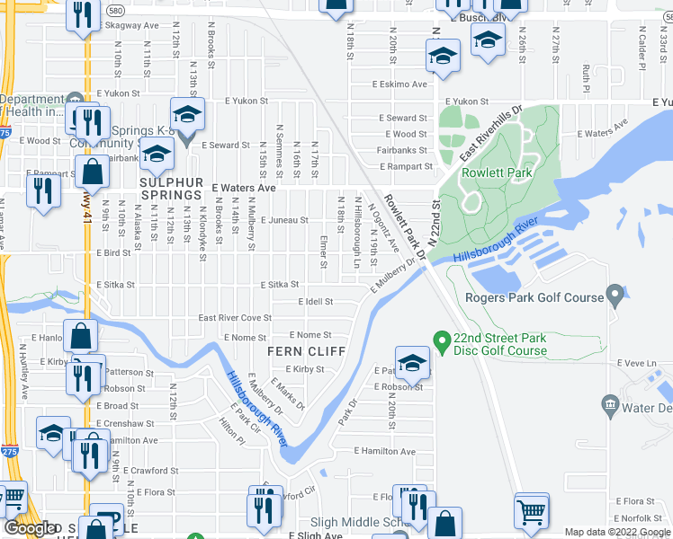 map of restaurants, bars, coffee shops, grocery stores, and more near 8104 North 18th Street in Tampa