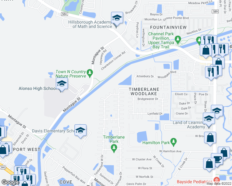 map of restaurants, bars, coffee shops, grocery stores, and more near 8001 Hearthstone Court in Tampa