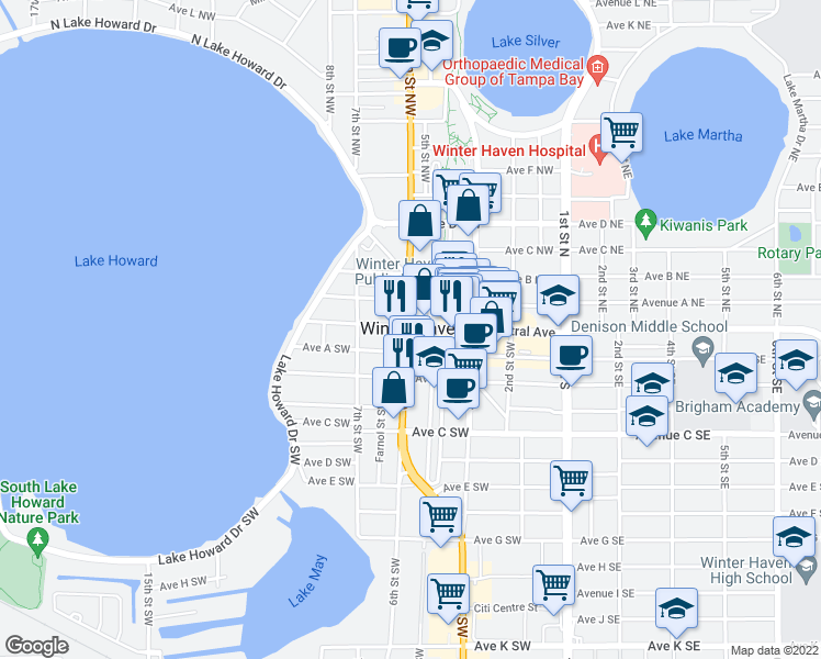 map of restaurants, bars, coffee shops, grocery stores, and more near 510 W Central Ave in Winter Haven