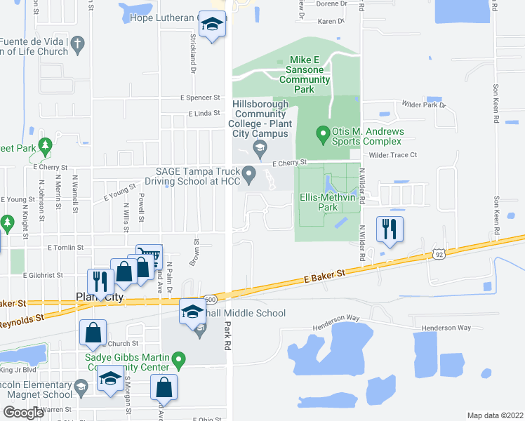 map of restaurants, bars, coffee shops, grocery stores, and more near 2202 Village Park Road in Plant City