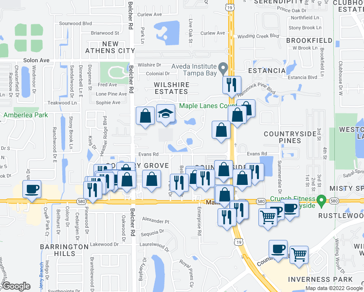 map of restaurants, bars, coffee shops, grocery stores, and more near 3500 Burlingame Circle in Clearwater