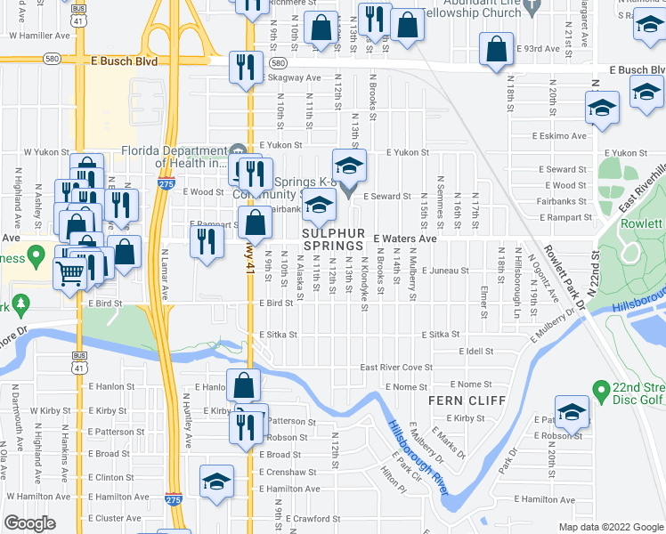 map of restaurants, bars, coffee shops, grocery stores, and more near 8308 North 12th Street in Tampa