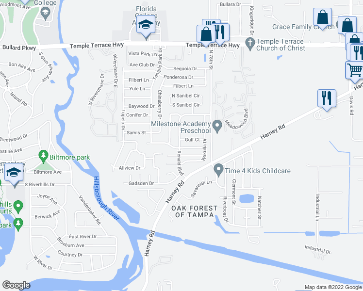 map of restaurants, bars, coffee shops, grocery stores, and more near 7609 Willow Park Drive in Tampa