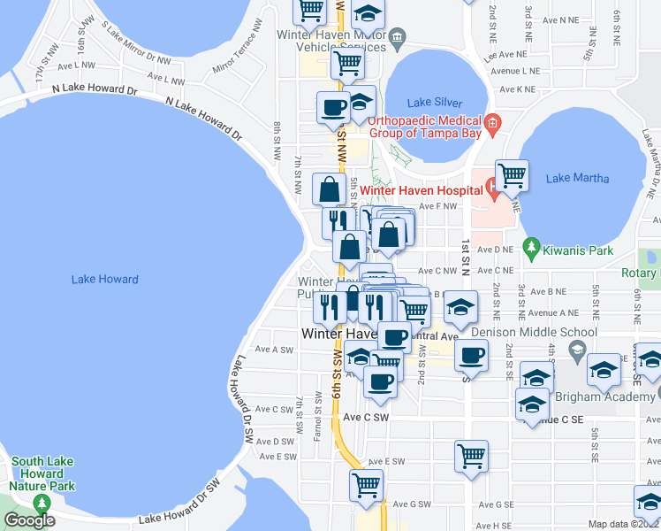 map of restaurants, bars, coffee shops, grocery stores, and more near 235 6th Street Northwest in Winter Haven