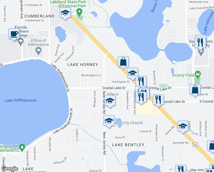 map of restaurants, bars, coffee shops, grocery stores, and more near 1612 Crystal Lake Drive in Lakeland