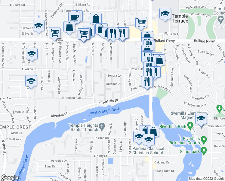 map of restaurants, bars, coffee shops, grocery stores, and more near 8412 Rio Bravo Court in Tampa
