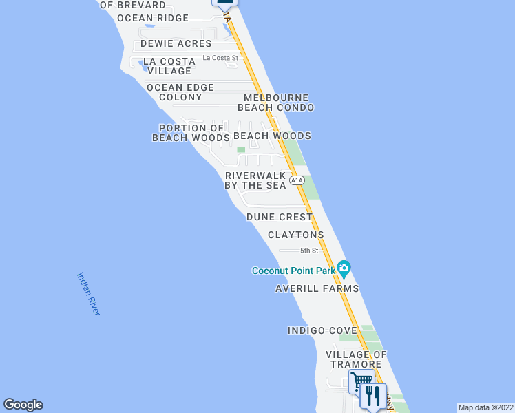 map of restaurants, bars, coffee shops, grocery stores, and more near 200 Sea Crest Drive in Melbourne Beach