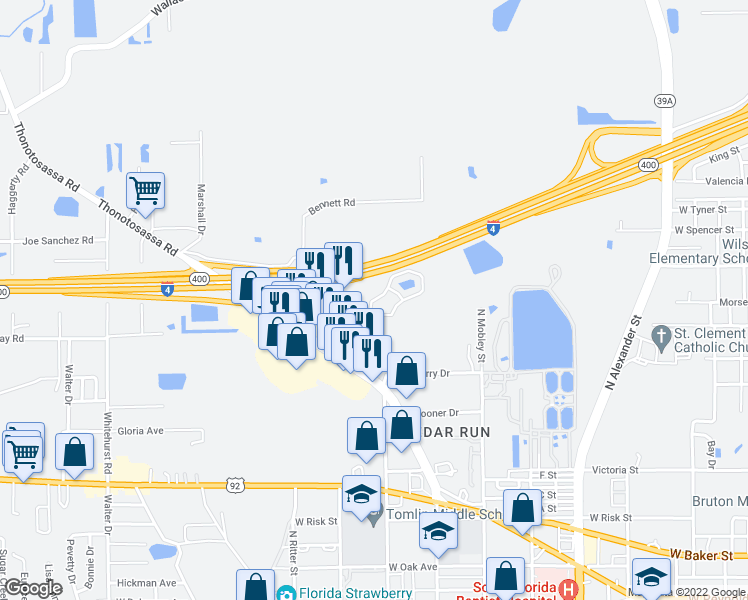 map of restaurants, bars, coffee shops, grocery stores, and more near 1203 Townsgate Court in Plant City