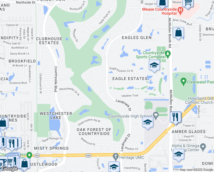 map of restaurants, bars, coffee shops, grocery stores, and more near Landmark Drive in Clearwater