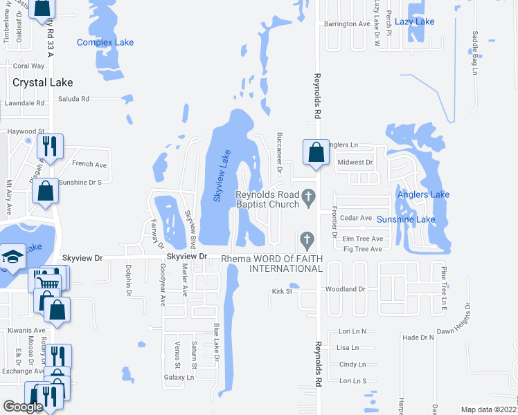 map of restaurants, bars, coffee shops, grocery stores, and more near 1202 Waters Edge Drive in Lakeland