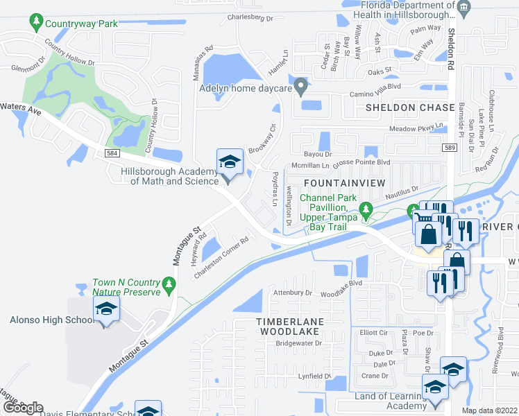 map of restaurants, bars, coffee shops, grocery stores, and more near 9567 Sunbelt Street in Tampa