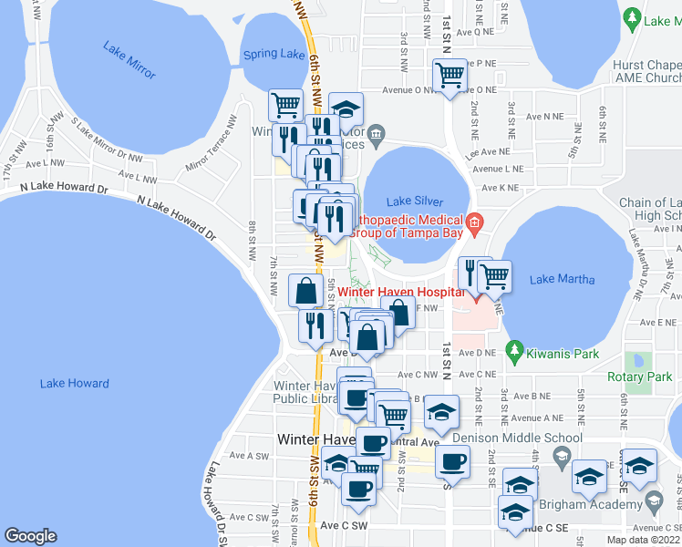 map of restaurants, bars, coffee shops, grocery stores, and more near 512 Avenue H Northwest in Winter Haven