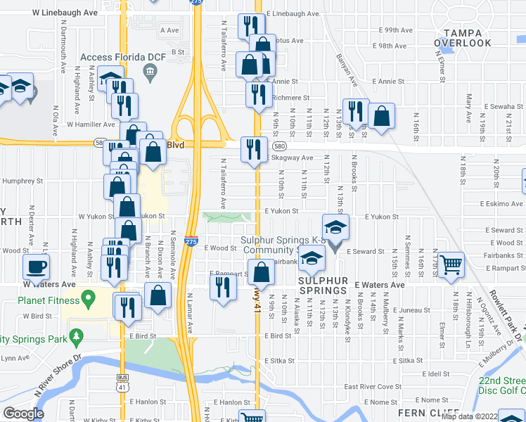 map of restaurants, bars, coffee shops, grocery stores, and more near 8618 North 9th Street in Tampa