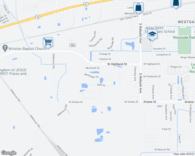 map of restaurants, bars, coffee shops, grocery stores, and more near 1102 Skye Place in Lakeland