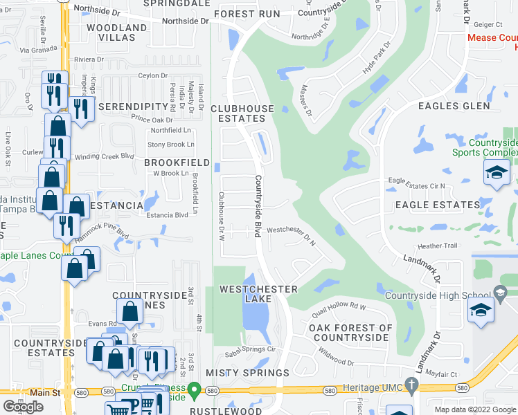 map of restaurants, bars, coffee shops, grocery stores, and more near Countryside Boulevard in Clearwater