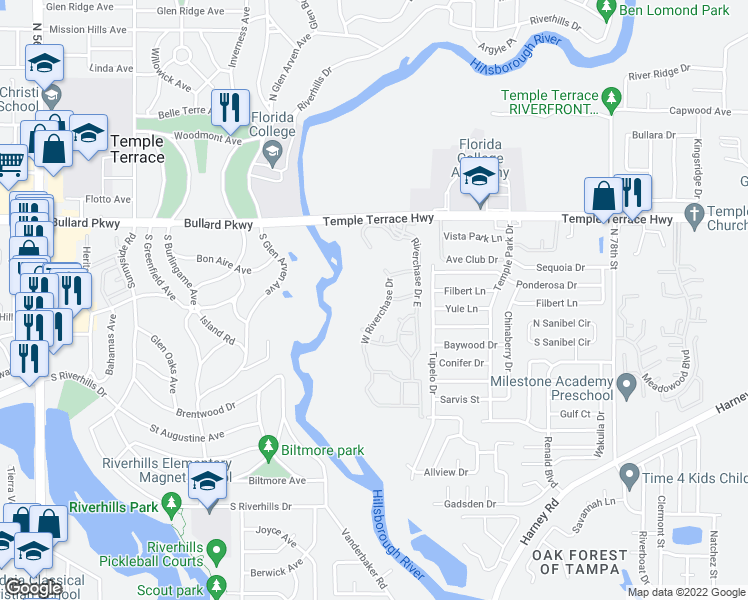 map of restaurants, bars, coffee shops, grocery stores, and more near 7509-7599 West Riverchase Drive in Tampa