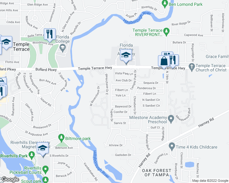 map of restaurants, bars, coffee shops, grocery stores, and more near 7011 Yule Lane in Tampa
