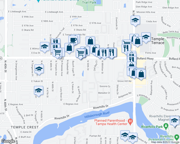map of restaurants, bars, coffee shops, grocery stores, and more near 8725 North 50th Street in Tampa