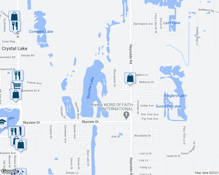 map of restaurants, bars, coffee shops, grocery stores, and more near 1049 Captiva Point in Lakeland