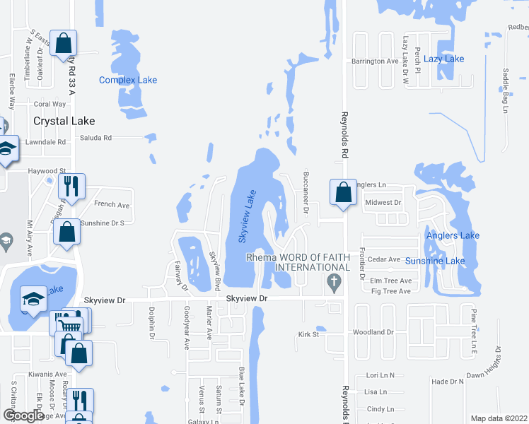 map of restaurants, bars, coffee shops, grocery stores, and more near 1009 Waterview Point in Lakeland