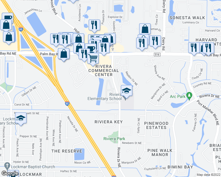 map of restaurants, bars, coffee shops, grocery stores, and more near 100 Larch Circle Northeast in Palm Bay