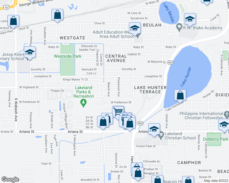 map of restaurants, bars, coffee shops, grocery stores, and more near 1314 James Street in Lakeland