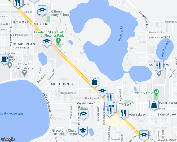 map of restaurants, bars, coffee shops, grocery stores, and more near 1108 Bartow Road in Lakeland