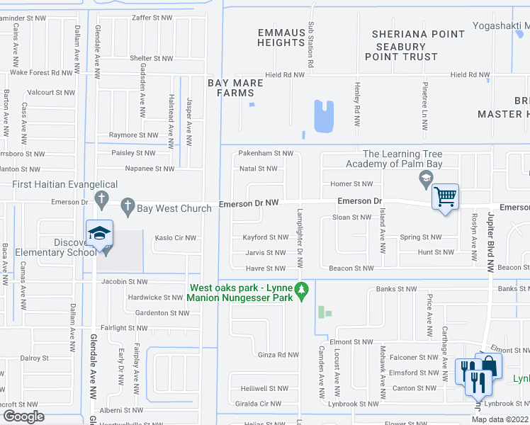 map of restaurants, bars, coffee shops, grocery stores, and more near 1265 Kamay Avenue Northwest in Palm Bay