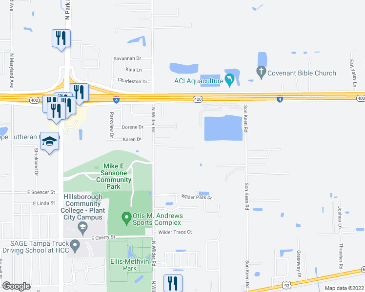 map of restaurants, bars, coffee shops, grocery stores, and more near 2712 Wilder Reserve Drive in Plant City