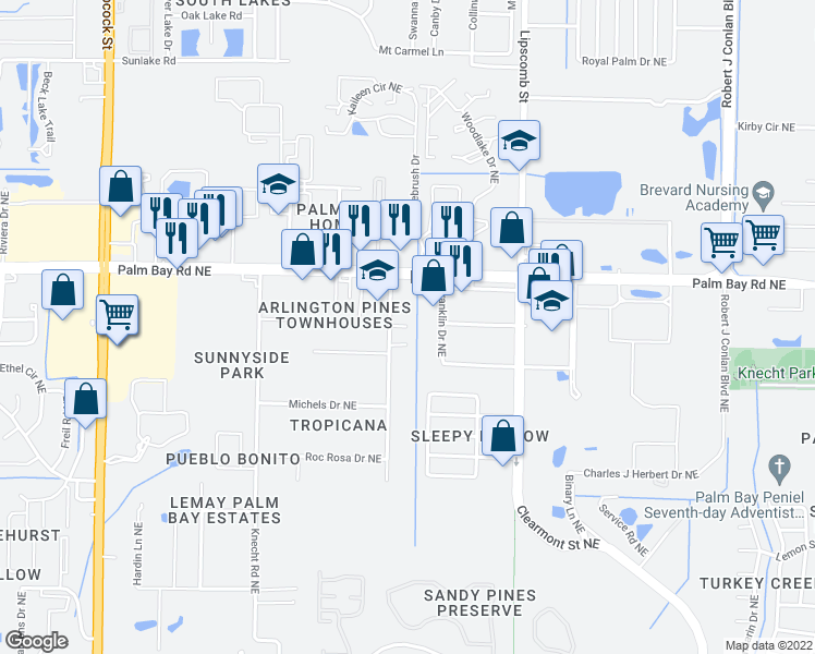 map of restaurants, bars, coffee shops, grocery stores, and more near 2052 Paradise Court Northeast in Palm Bay