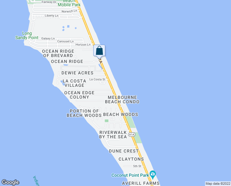 map of restaurants, bars, coffee shops, grocery stores, and more near 3135 South Highway A1A in Melbourne Beach