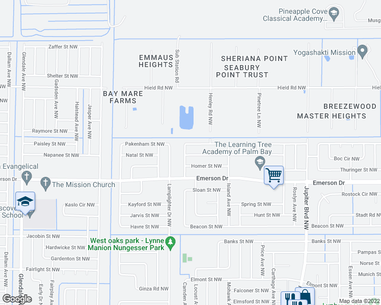 map of restaurants, bars, coffee shops, grocery stores, and more near 1193 Kenmore Street Northwest in Palm Bay