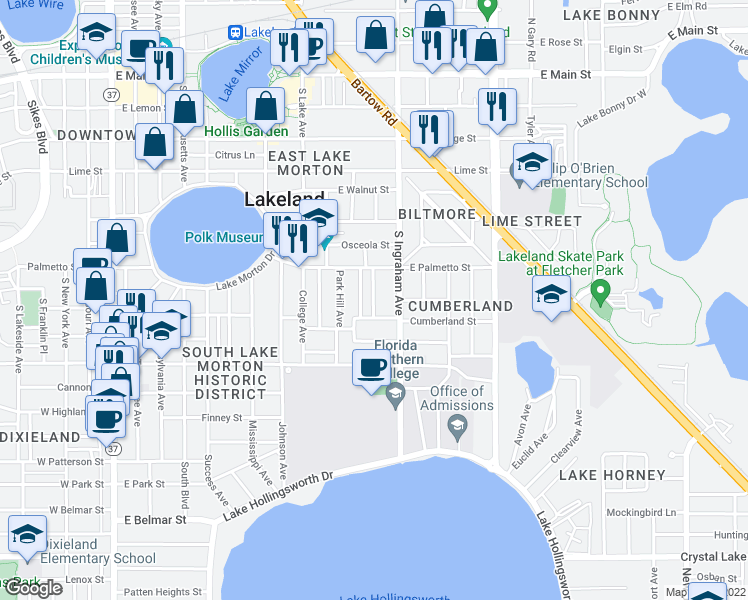 map of restaurants, bars, coffee shops, grocery stores, and more near 740 Winfree Avenue in Lakeland