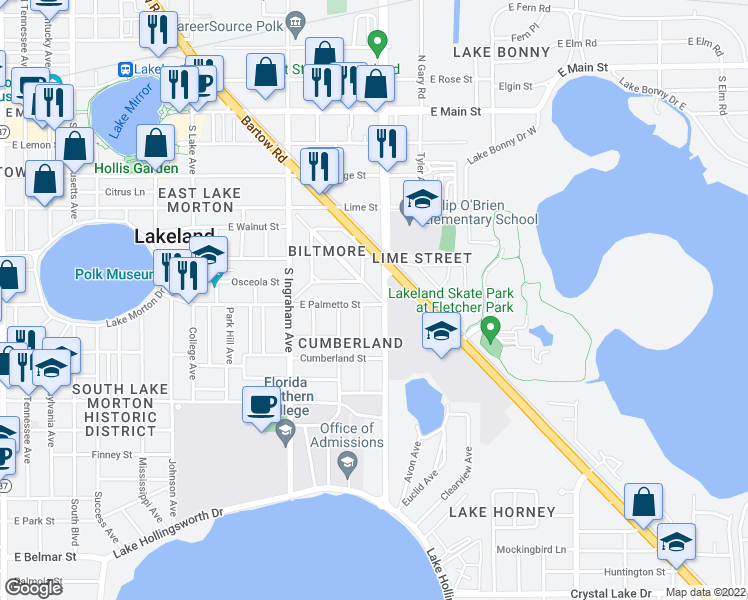 map of restaurants, bars, coffee shops, grocery stores, and more near 623 Francis Boulevard in Lakeland